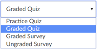 canvas graded quiz type drop down menu