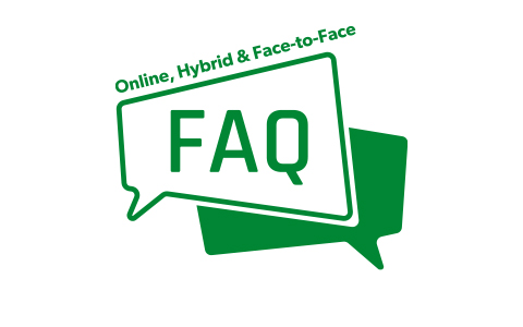 icon with text Online, Hybrid & Face-to-Face FAQs