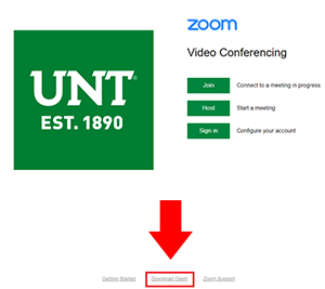 Zoom login window with arrow pointing at client download link